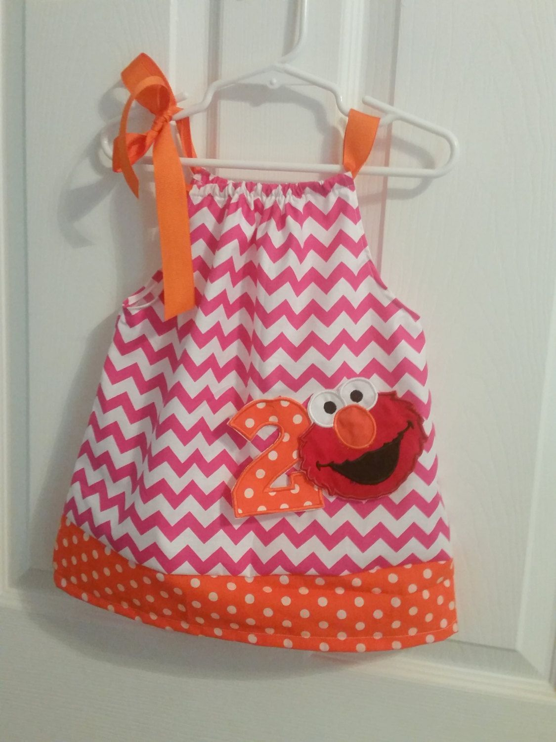 Hot Pink and orange Chevron 1st 2nd Birthday Elmo outfit Pillowcase ...