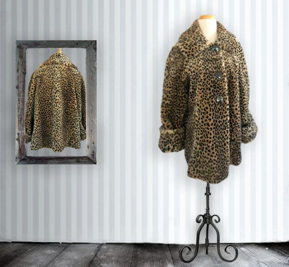 Vintage Faux Fur Leopard Jacket, Animal Print, Car Coat, Swing Coat, Large #Unbranded #SwingCoat