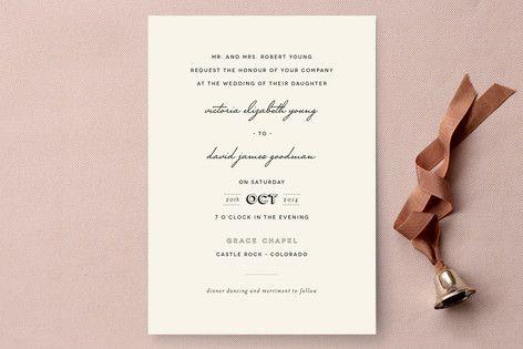 Plain Jane Wedding Invitations By Design Lotus At Minted