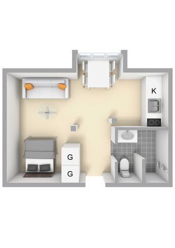 20 square meters studio apartment Small apt interior design