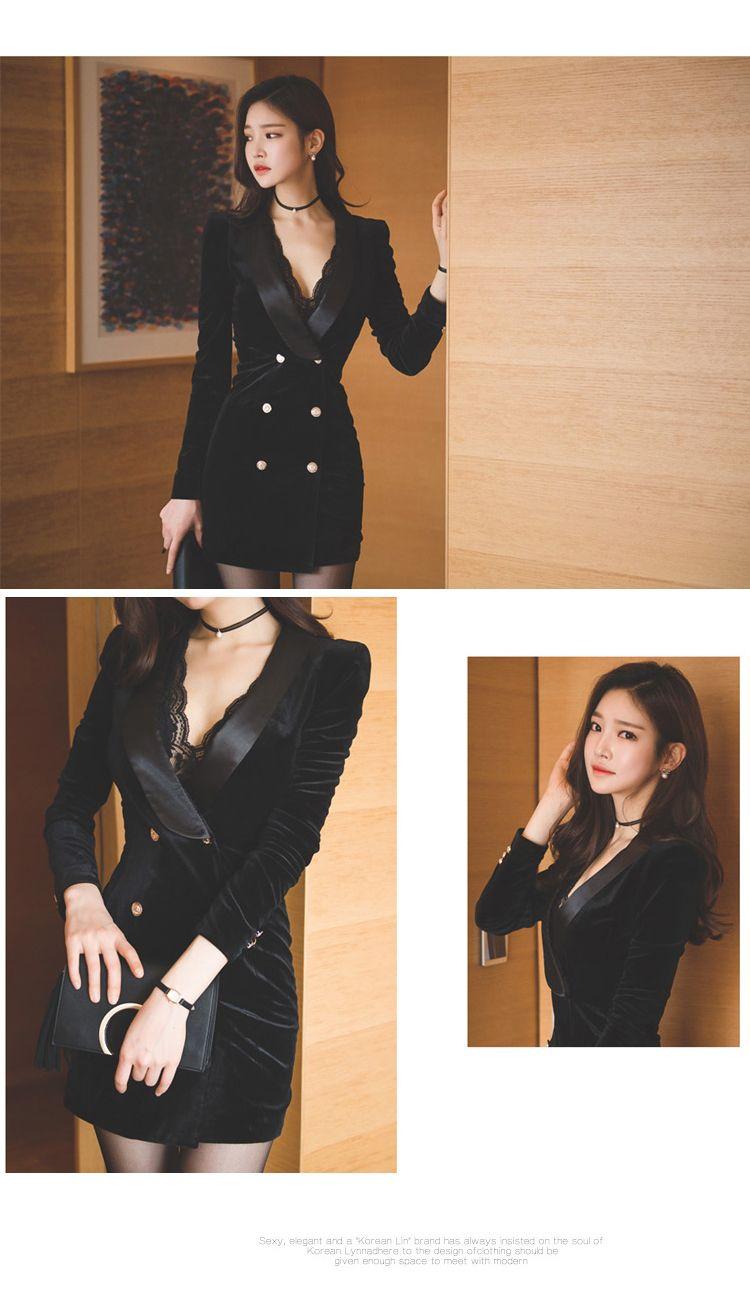 aa50fe646 YaLiShi Mulheres Elegante OL Trabalho Formal do Negócio Vestido Profundo  Decote Em V Botão Preto Bodycon