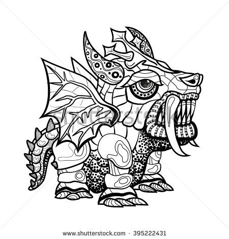 Vector hand draw ornamental dragon outline illustration with vector hand draw ornamental dragon outline illustration with decorative ornaments tattoo ornament coloring dragon ccuart Images