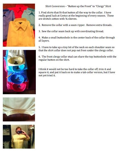 How To Convert A Regular Button Up Shirt To A Clergy Full Collar Shirt Clergy Women Clergy Stoles Clergy