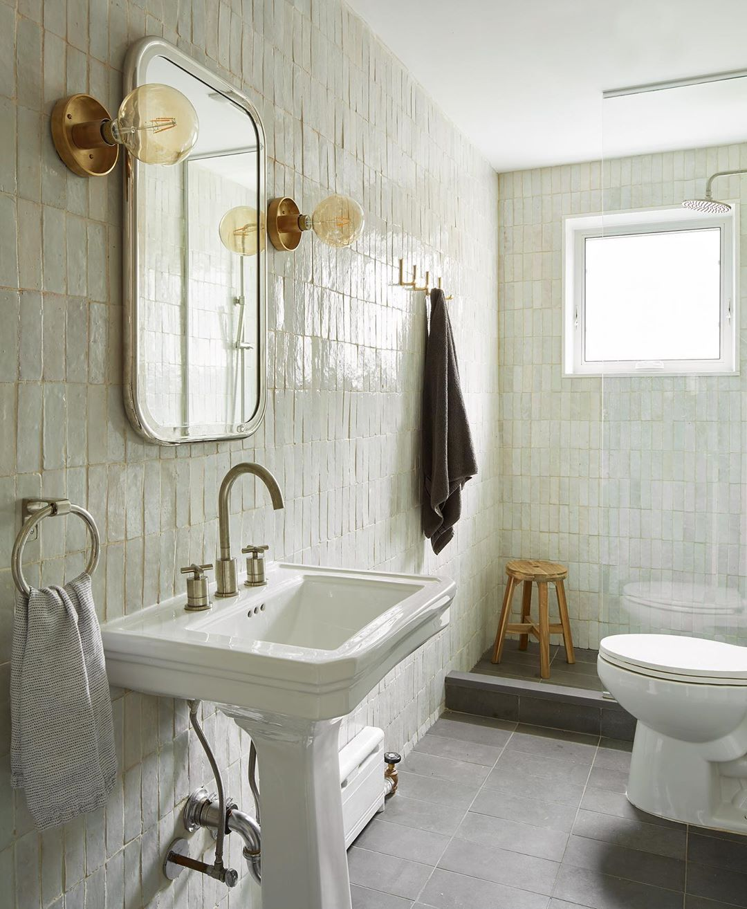 Bathroom With Cletile Floor To Ceiling Via Thiswoodenhouse