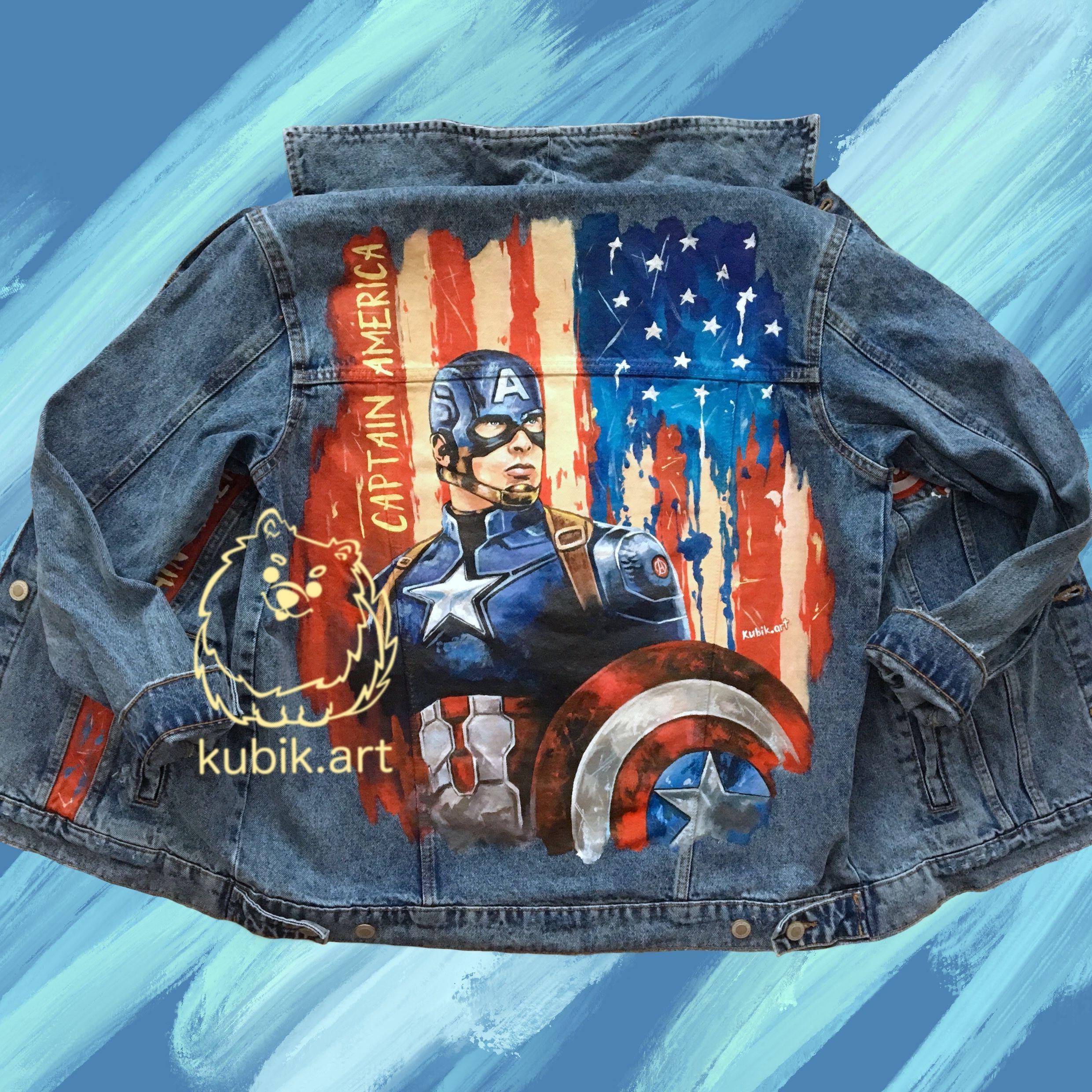 Captain America Custom Denim Jacket Marvel Hand Painted Clothes In 2021 Denim Jacket Painted Clothes Custom Denim Jacket [ 2480 x 2481 Pixel ]
