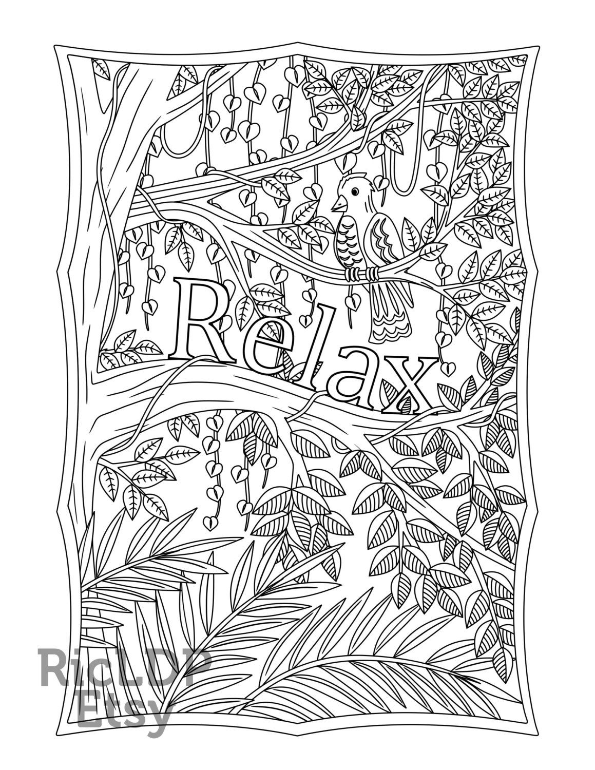 Printable \'Relax\' Bird, Leaves and Trees design Coloring page for ...