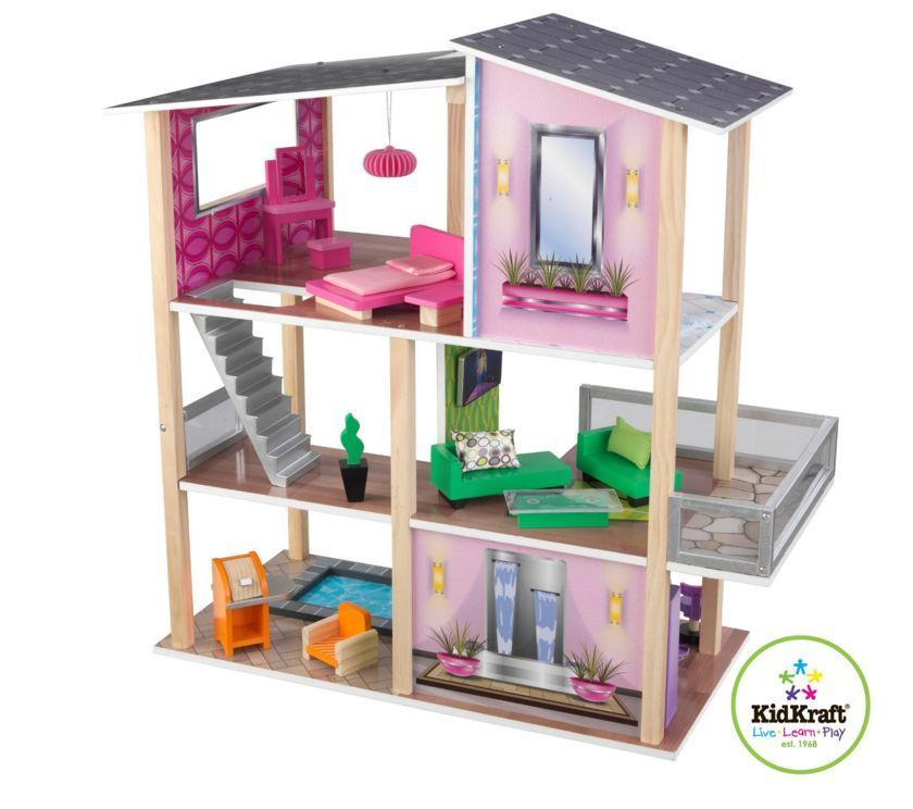 modern dollhouse furniture sets. Large Girls Modern Dollhouse 20 Piece Furniture Set Wooden Doll House Toy Condo | Dollhouse, Houses And Dolls Sets