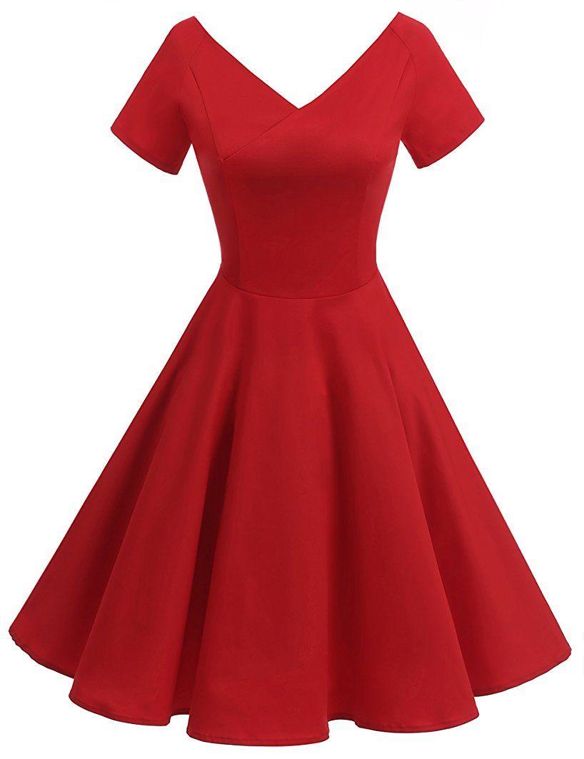 Shoppen Sie Gardenwed Damen Vintage 1950er V-Ausschnitt Rockabilly ...