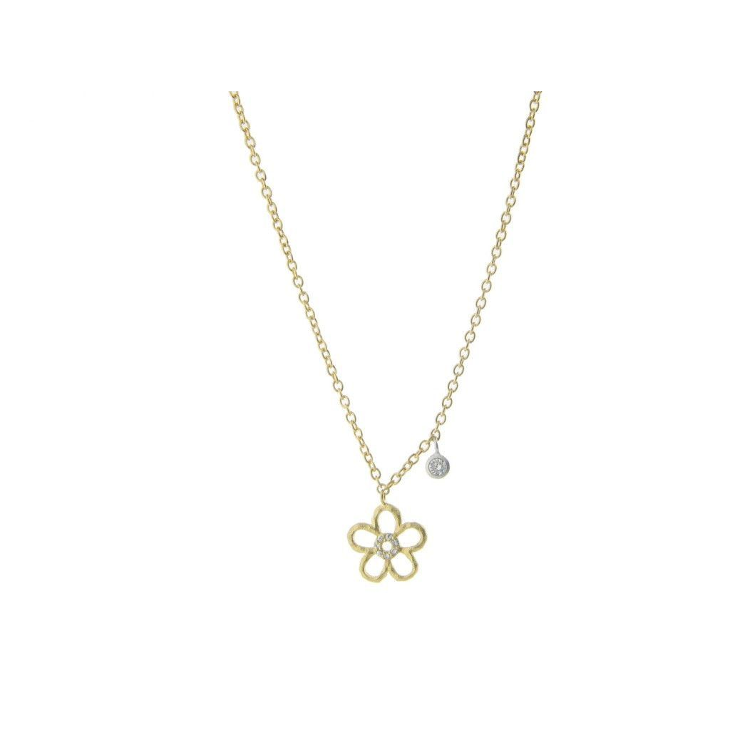 Flowing circular flower u cubic zirconia pendantk gold plated
