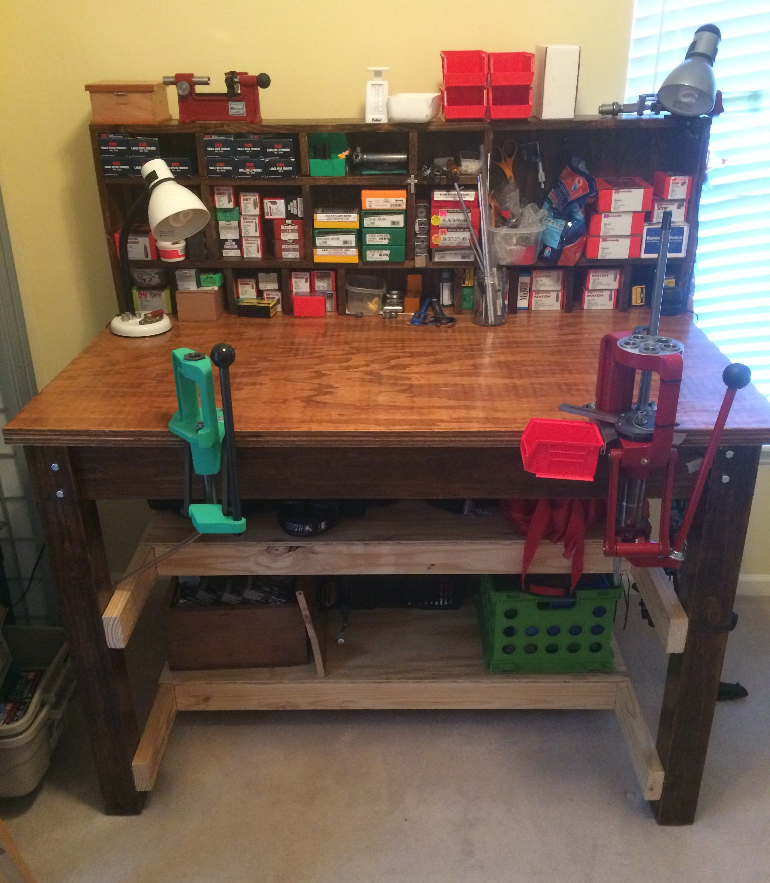 Learn From My Successes And My Mistakes As You Build A Custom Reloading Bench With Do And Don T Do Tips Reloading Bench Reloading Room Reloading Bench Plans