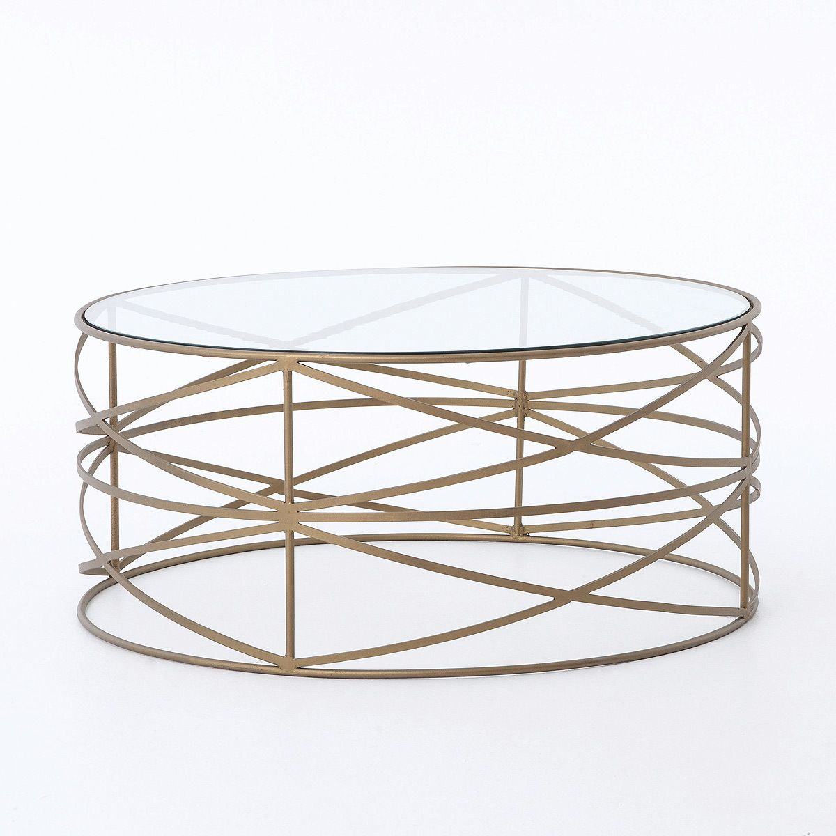 Greer Matte Brass Round Coffee Table With Glass Top Brass Round Coffee Table Brass Coffee Table Geometric Coffee Table [ 1200 x 1200 Pixel ]