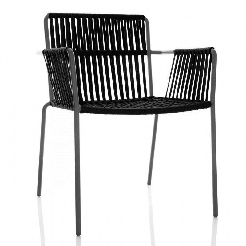 Kettal Net Armlehnstuhl Gartenstuhl Polyestergeflecht Schwarz Gestell Manganese Schwarz Ohne Kissen Ausziehbarer Gartentisch Gartenstuhle Stuhle