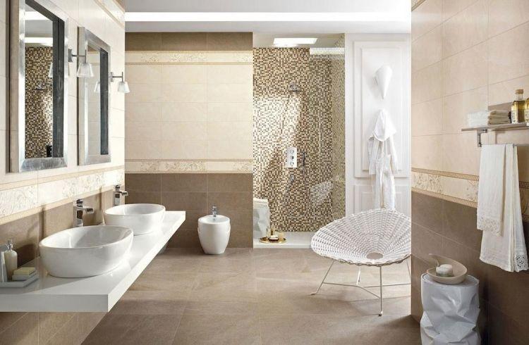 Badfliesen Ideen Beige  Duschkabine Mosaiksteine Doppelwaschtisch Waschbecken Spiegel Modern Weiss