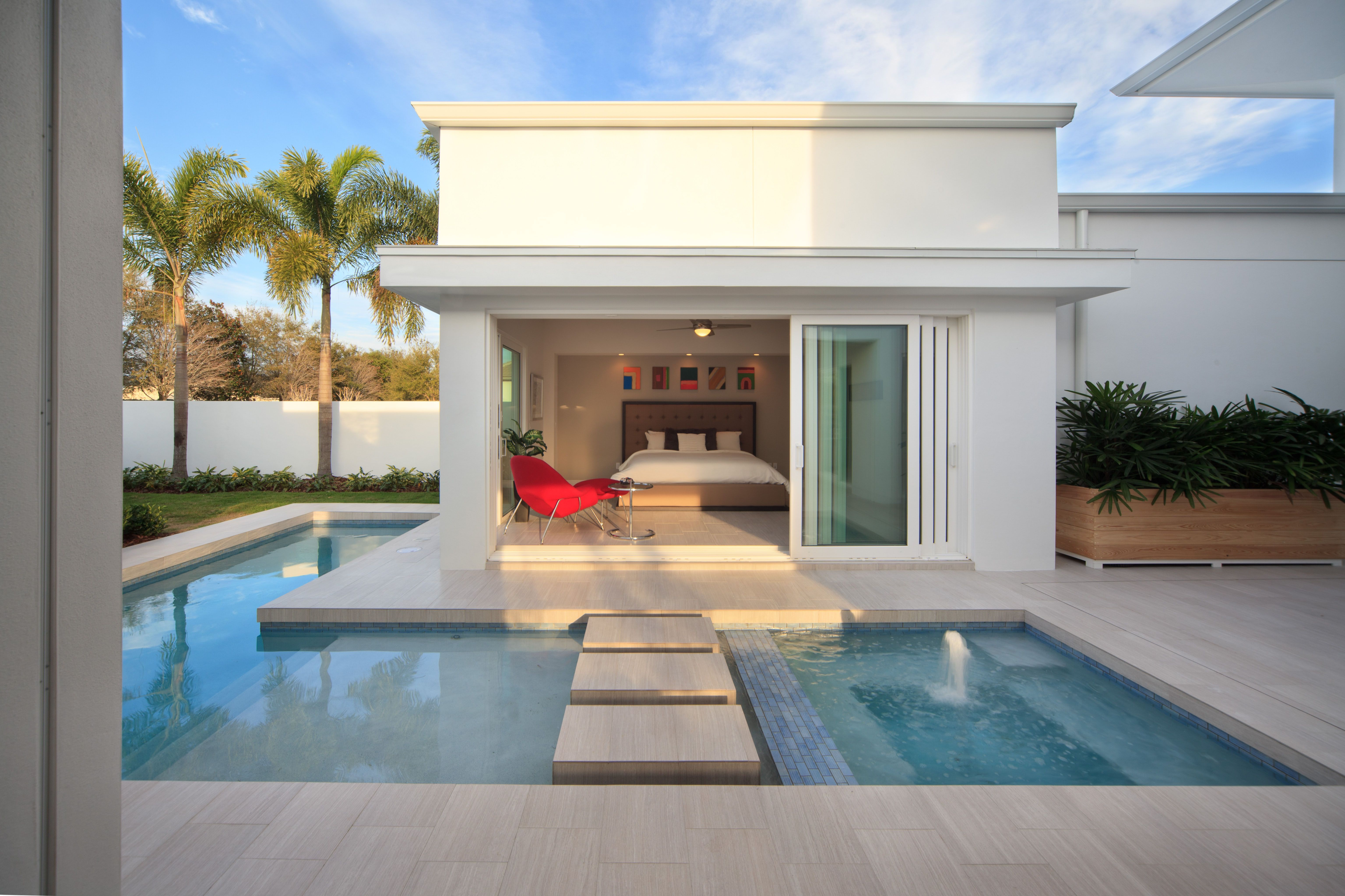 Awesome bedrooms with pools - Master Bedroom Opens Onto The Swimming Pool And The Expansive Lanai Spaces That Flank The Pool