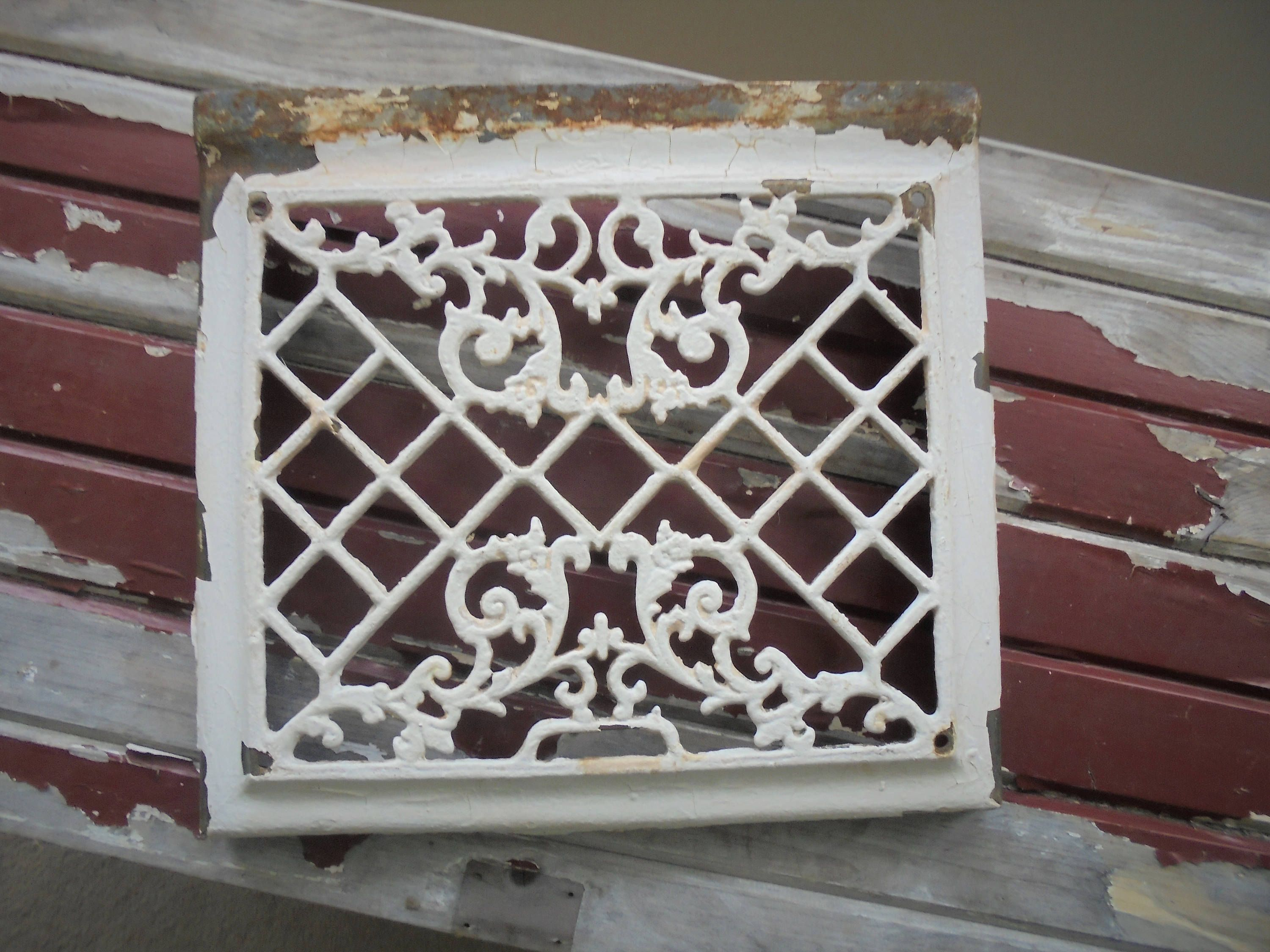 Vintage Ornate Metal Heating Register  Chippy Paint Shabby