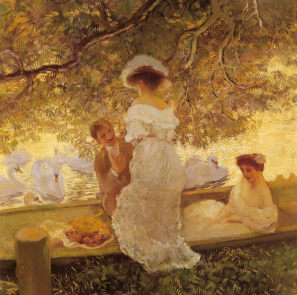 """The Boating Party"" → Gaston de Latouche - 1854/1913 - Pintor pós-impressionista francês. Óleo sobre tela."