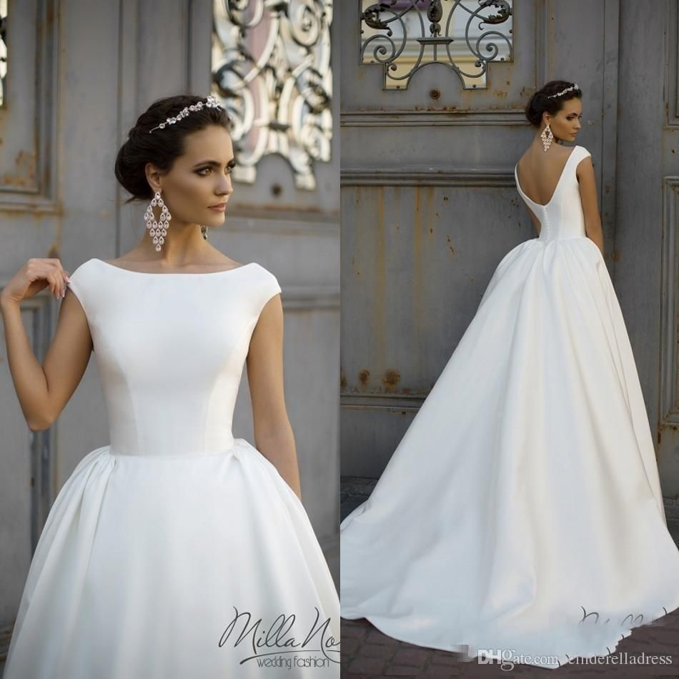 8335f8e2d4a Discount 2018 Milla Nova Wedding Dresses A Line Matte Satin Backless Sweep  Train Long Sleeve Wedding Gowns Bateau Neck Winter Bridal Dress Plus Size  Buy ...