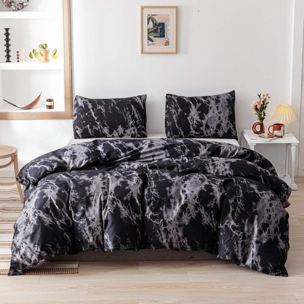 Marble Comforter Set Gray Grey Black And White Pattern Printed In 2020 Marble Duvet Cover Microfiber Bedding White Bed Set