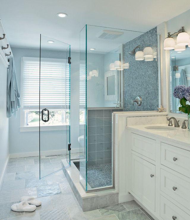 Blue Glass Shower Tiles, Transitional, Bathroom, Donna Elle Interior Design