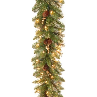 National Tree Company Glittery Gold Pine 9\u0027 Garland With Clear