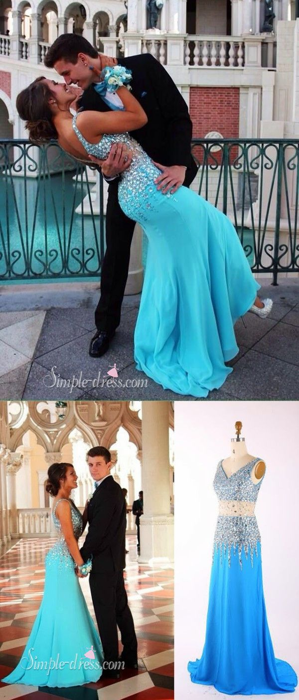 long mermaid blue prom dress with beaded vneck sequins prom