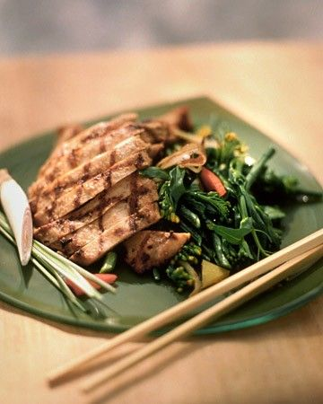 Grilled Lemongrass Chicken - This Vietnamese-style marinade of lemongrass, fish sauce, soy sauce, sugar, and garlic makes this grilled chicken breast irresistible. Serve the chicken over cold rice vermicelli salad.