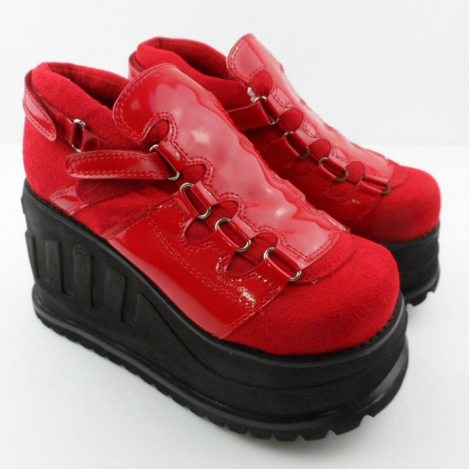 a80b97d1bb37 Cyber Punk Steam Goth Shoes UK 4 Red Platform Wedge Creepers in 2019 ...