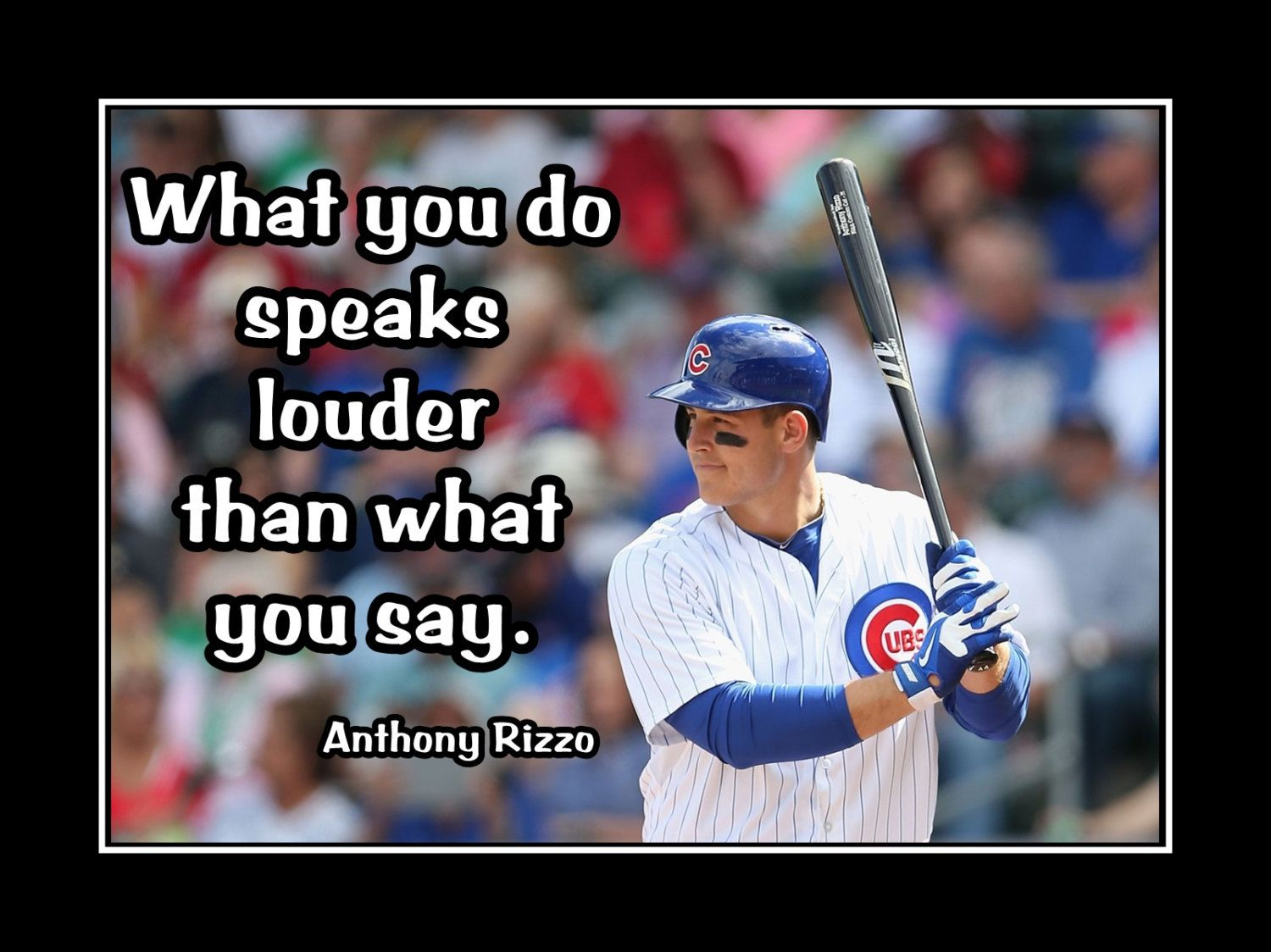 Baseball Motivation Poster Anthony Rizzo Cubs Photo Quote Wall Art