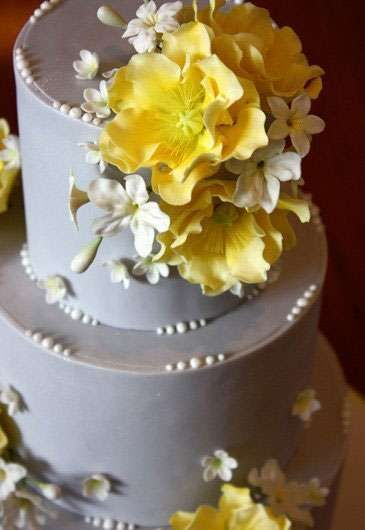 Pretty grey and yellow cake