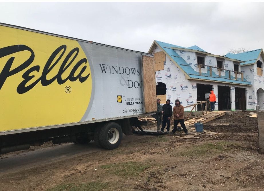 pin by pella windows doors of north t on the cold weather can t stop our world class delivery team our pella architect series windows doors will look awesome on this plano tx pinterest