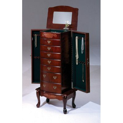 Jewelry Armoire with Mirror Finish Cherry httpdelanicocom