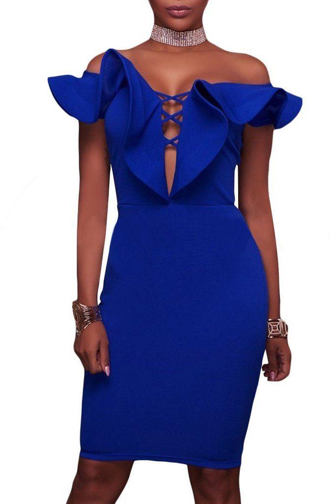 3e0dc791b00 Robe de Soiree Moulante Mi Longue Bleu Collerette Col Bateau MB61537-5 –  Modebuy.com