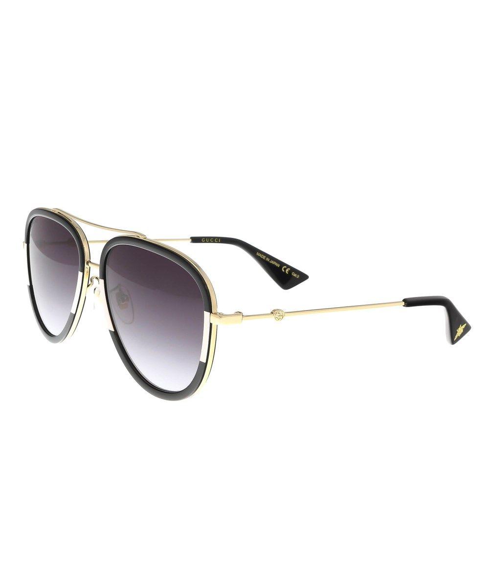 54548795ef4 GUCCI Gg0062S 006 Gold Black Aviator Sunglasses .  gucci  sunglasses ...