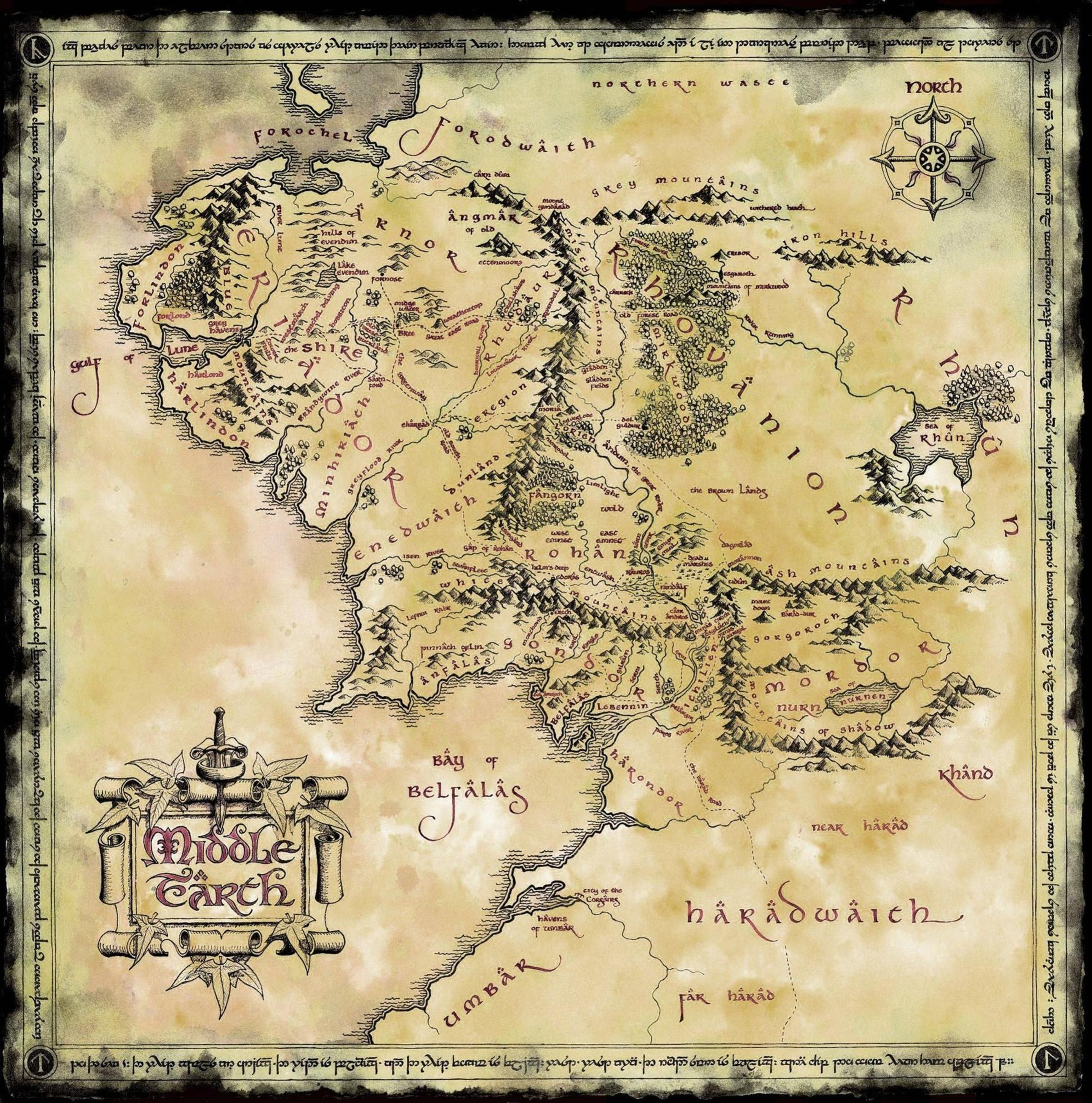 Map of Middle Earth (2400x2424) | Paige's gift in 2019 | Middle