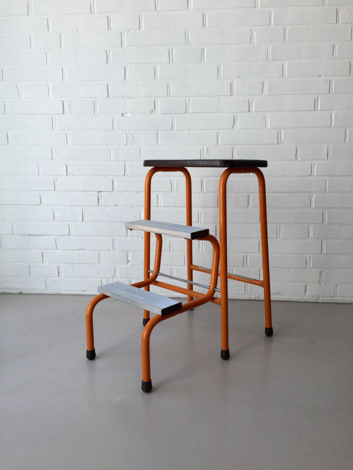 vintage step ladder step stool 50s 60s folding bauhaus. Black Bedroom Furniture Sets. Home Design Ideas