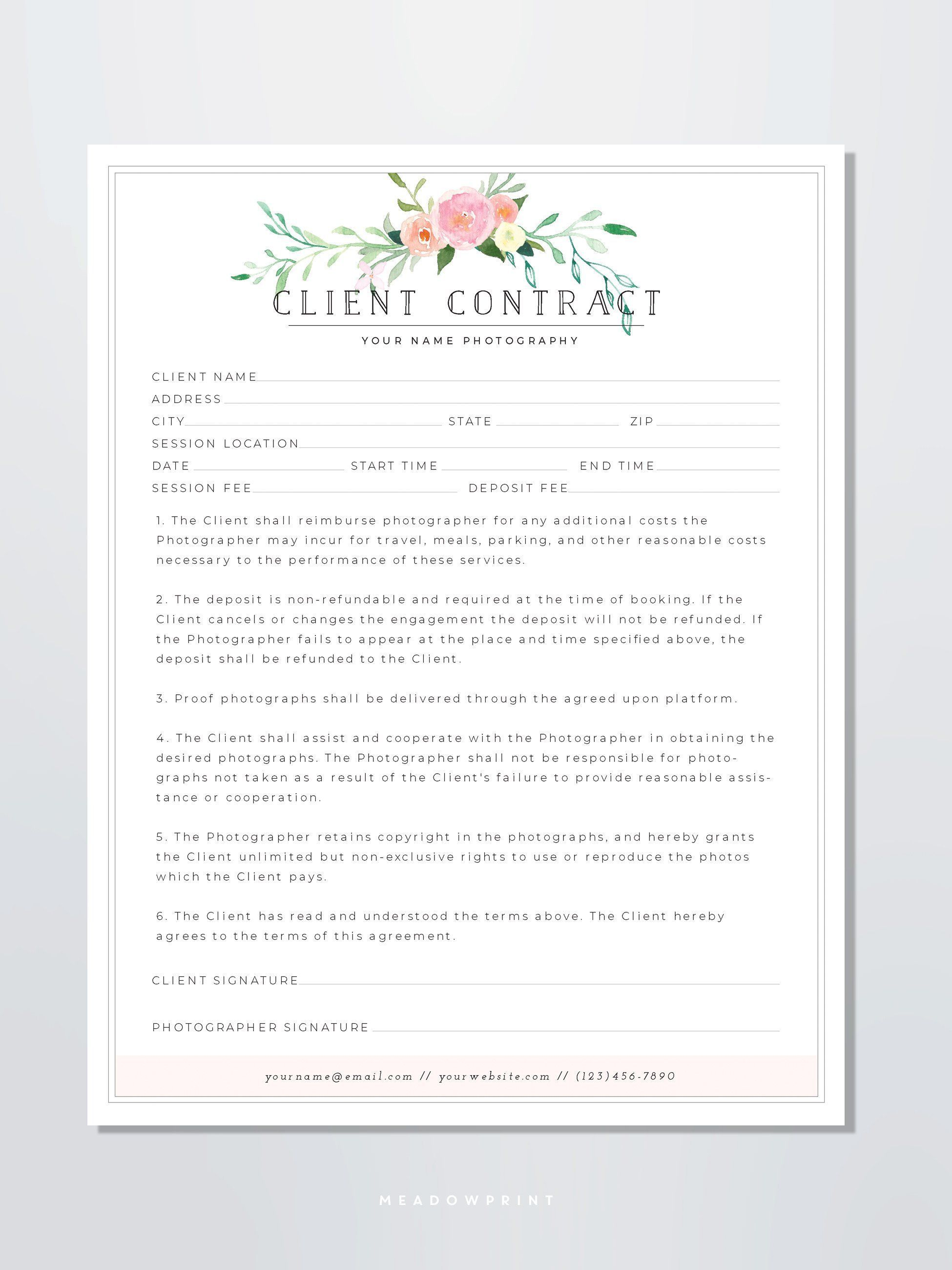 Client Contract Template Photography Form For Photographers