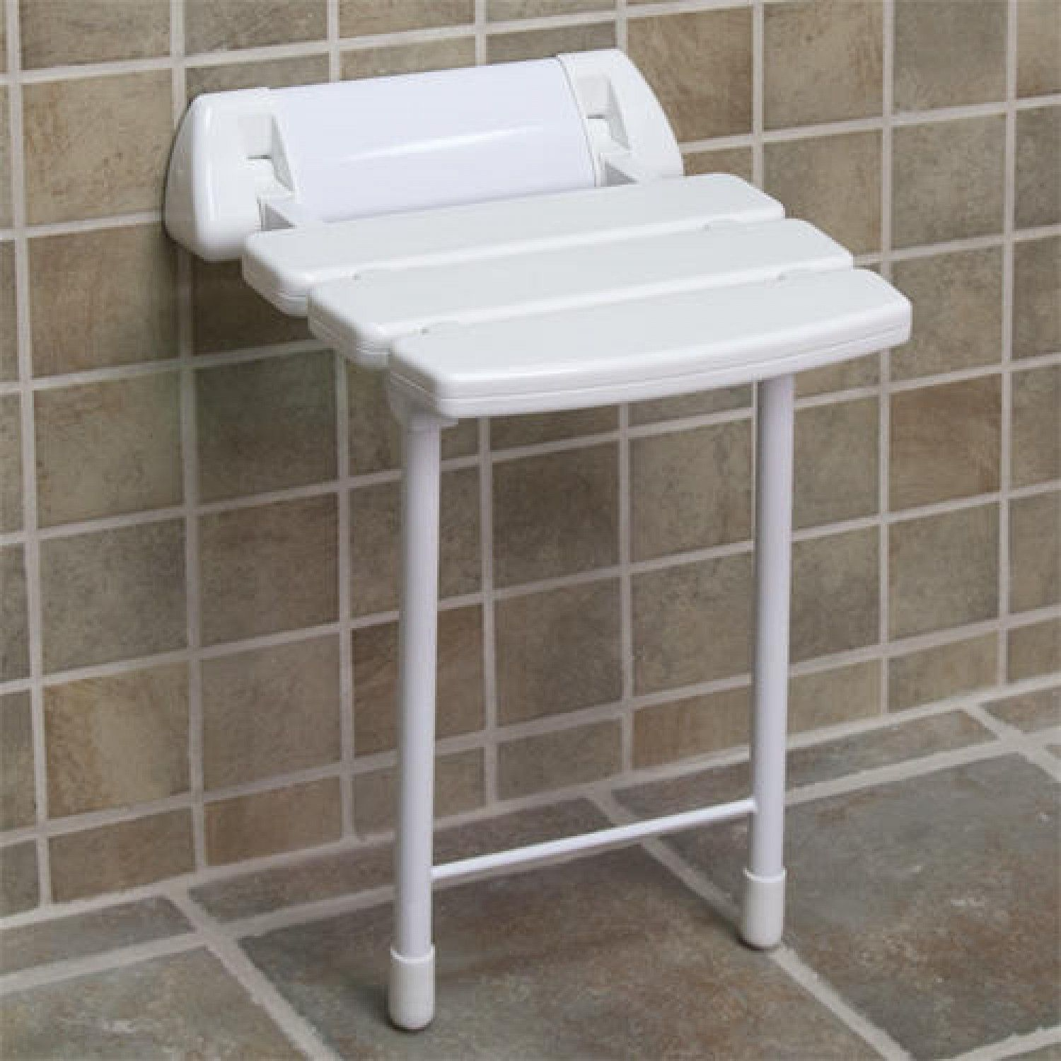 Wall-Mount Folding Shower Seat with Legs - White | Shower seat, Wall ...