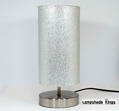 Silver Lamp Shades Amusing Silver Glitter Lamp #light #lampshade #bedside Table Desk Girls Design Ideas