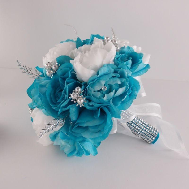 13pc Turquoise White Wedding BouquetsBoutonnieresCorsagesrose Peony Silver