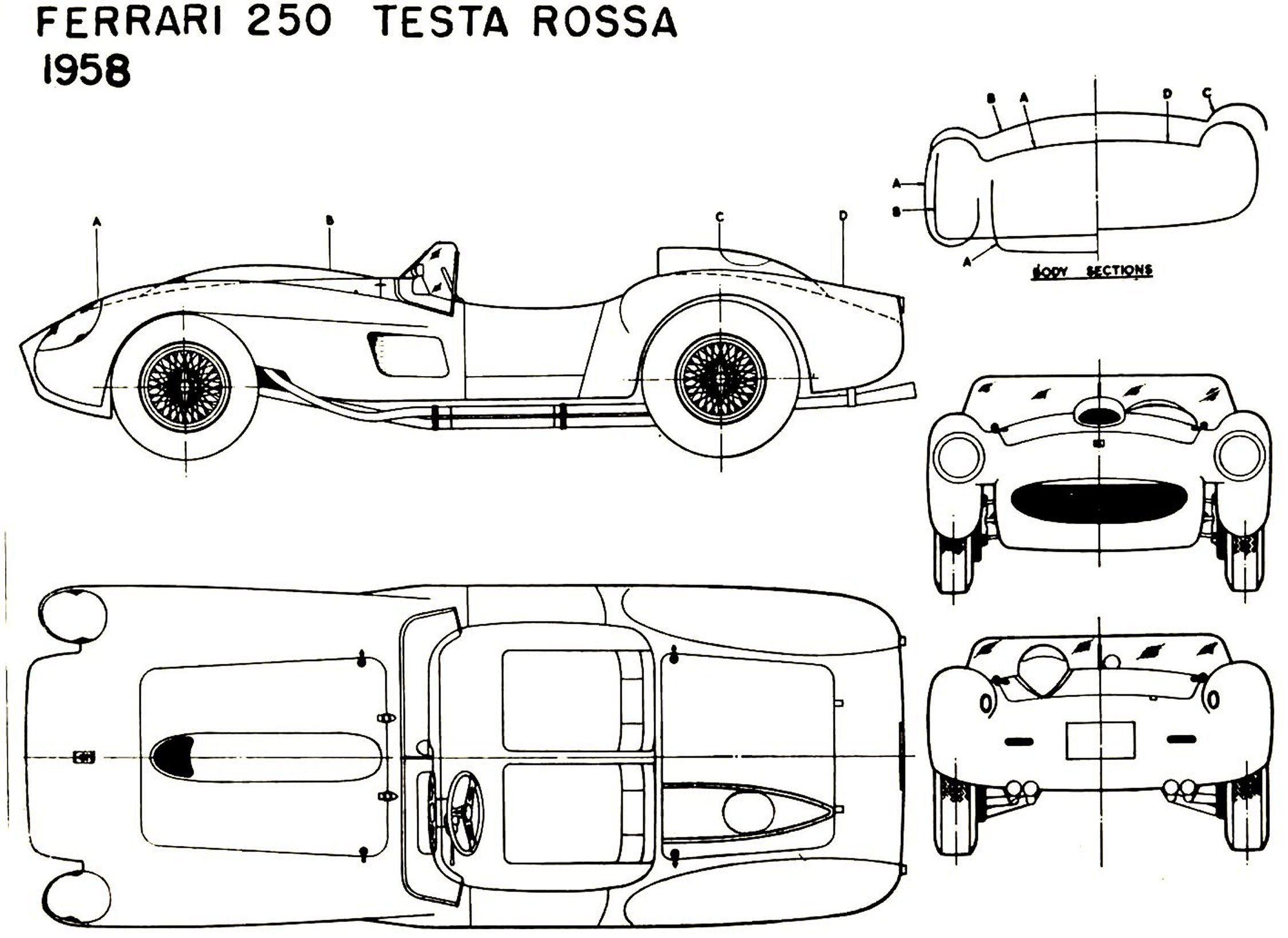 Ferrari 250 Testarossa Blueprint