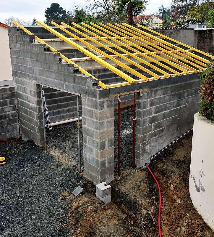 Charpente Une Pente Sur Parpaing Construire Abri De Jardin Charpente Parpaing