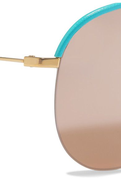 Victoria Beckham - Classic Victoria Aviator-style Gold-tone And Leather Mirrored Sunglasses