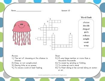 math worksheet : crossword puzzle  jellies  journeys aligned  vocabulary words  : 2nd Grade Crossword Puzzles