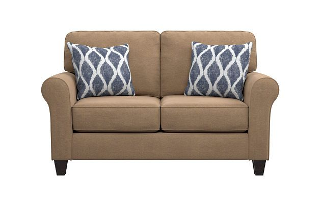 Best Aldy Loveseat And Pillows By Ashley Homestore Tan Love 400 x 300