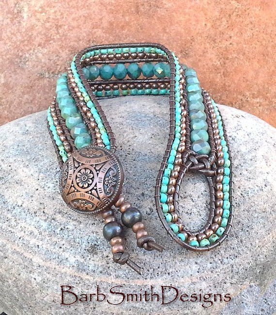 Antique Copper and Turquoise Beaded Bracelet-Metallic Leather Cuff Bracelet-The Indian Princess in Turquoise n' Antique Copper (IP6-TCM)