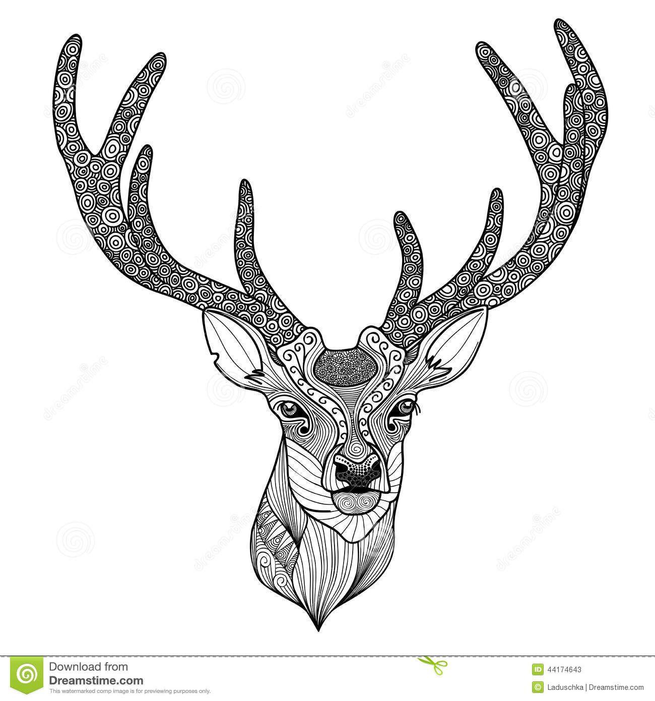 Deer Head Silhouette With Antlers Patterned Deer Head Stock