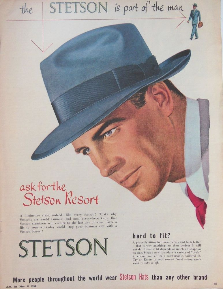 STETSON RETRO MENS HAT AD 1954 original vintage AUSTRALIAN fashion  advertising c7665002cc0