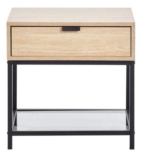 Chevet 1 tiroir INDUSTRIA imitation chêne/noir | Table ...