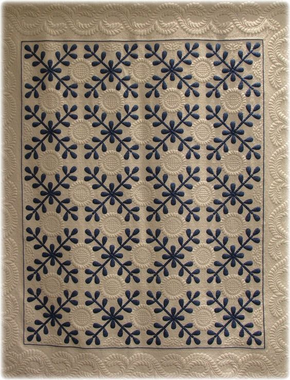 """Vintage inspired: """"Jamie's Jubliee"""" by Barbara A. Perrin, hand appliqued, machine quilted. The pattern is by Jane Lohmar from the Leisure Arts book, Great American Quilts 1998.  Posted at monomaniacal quilter:"""