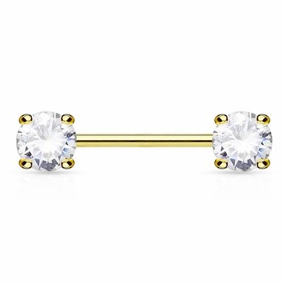 14K Gold Nipple Ring Barbell with 5mm ProngSet CZ Nipple Piercing